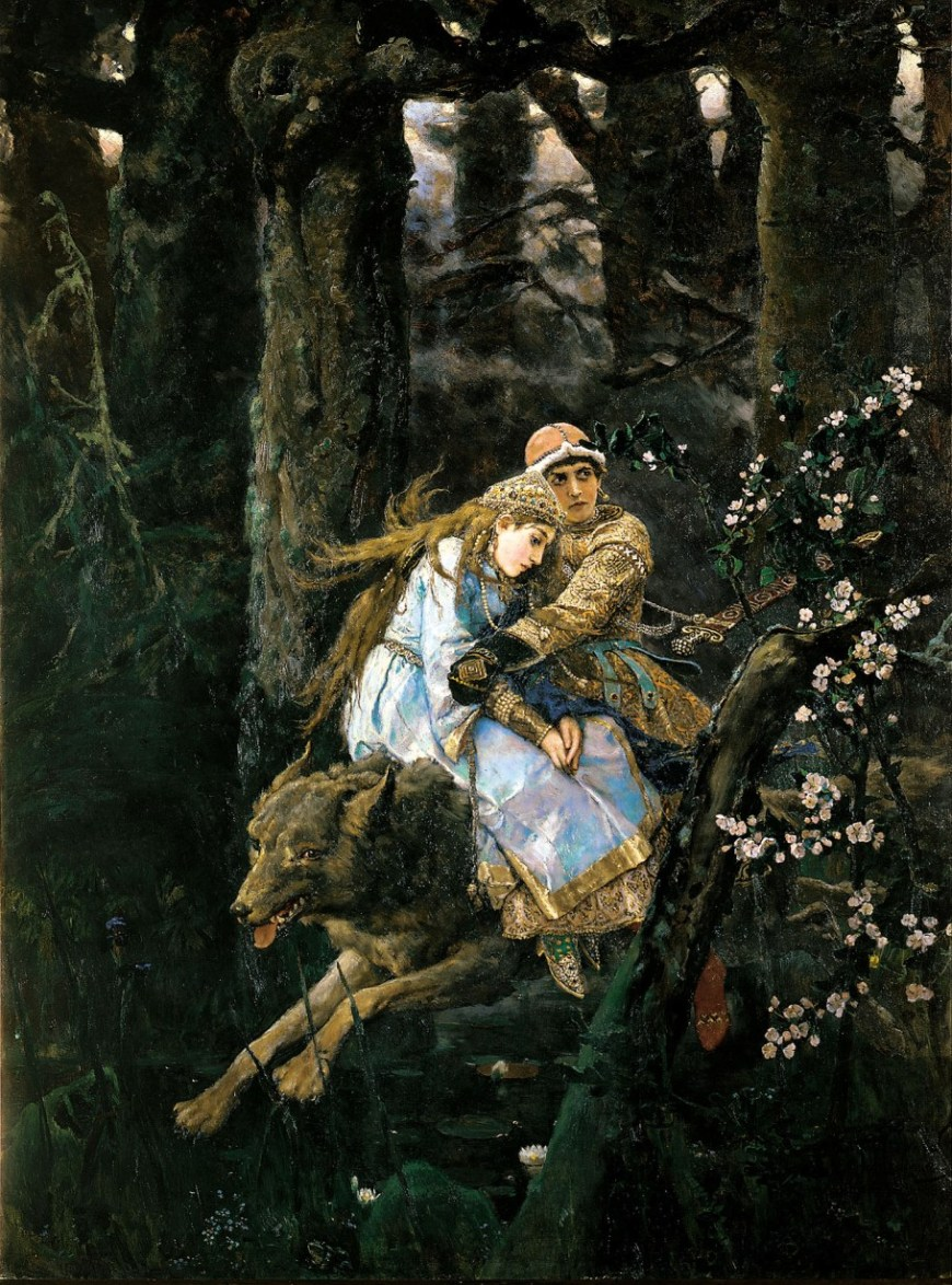 Vasnetsov - Ivan Tsarevitch riding the Grey Wolf (1889)