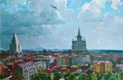 Moscow skyline 1952 painting A. Deyneka