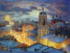 Moscow Skyline painting